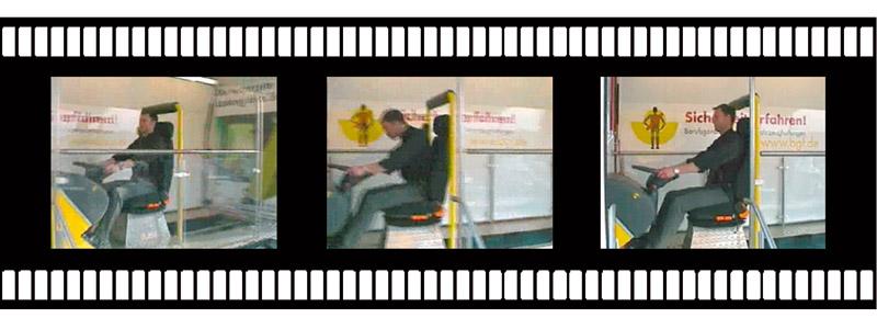 Sequenz des Bewegungsablaufes bei einem Lkw-Gurtschlittenversuch; Frontalbelastung