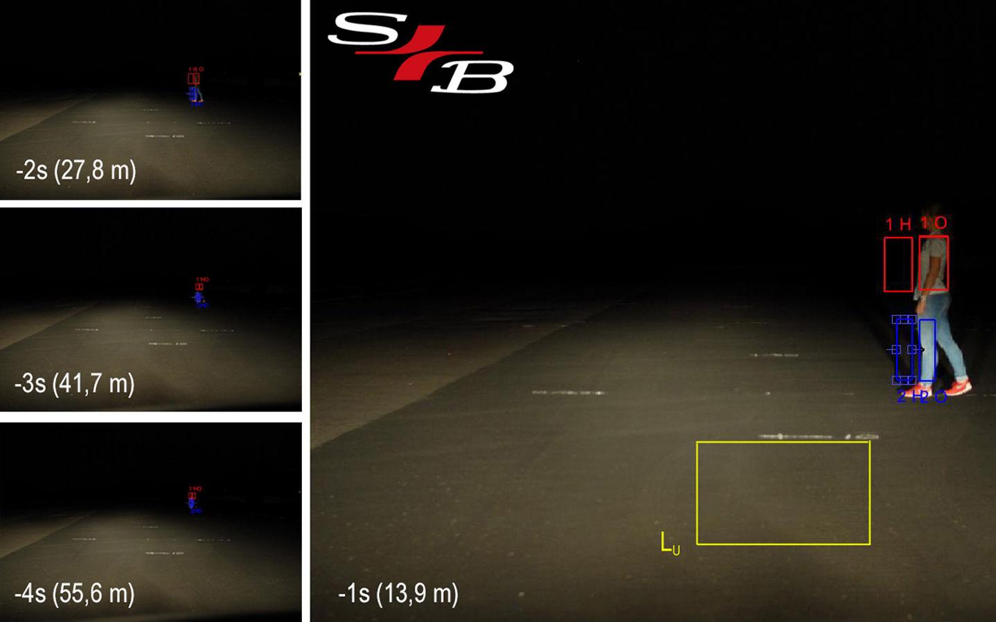 Lichttechnische Untersuchung zur Personenerkennbarkeit bei Dunkelheit.